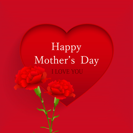 Mother's Day background template with heart and carnation flowers design.