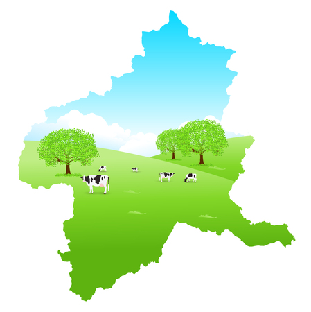 Gunma Cattle Map Ranch Illustration