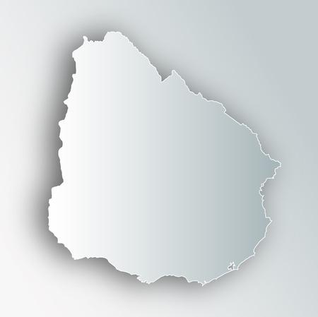 Uruguay Map Frame Icon Ilustração