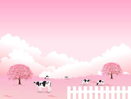 Cherry Blossoms spring flower background Illustration