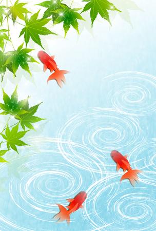 Summer goldfish water background 向量圖像