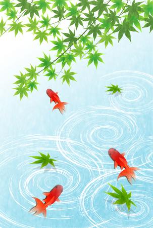 Summer goldfish water background Illustration