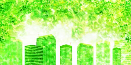 Building fresh green leaf background Vector illustration.