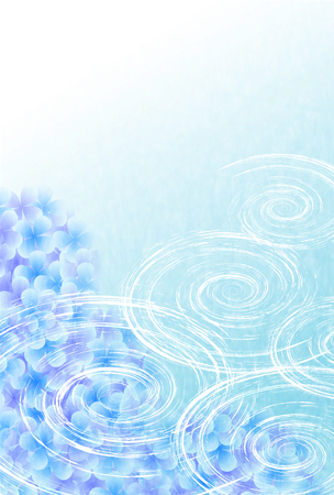 Hydrangea flowers with a blue background  イラスト・ベクター素材
