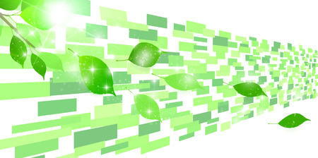 Fresh green leaf technology background Ilustrace