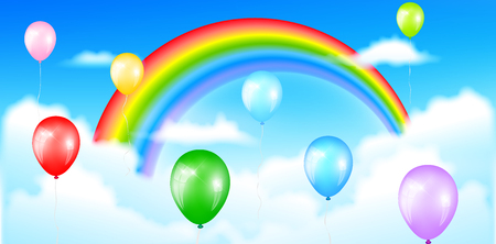 Colorful balloons with rainbow sky background