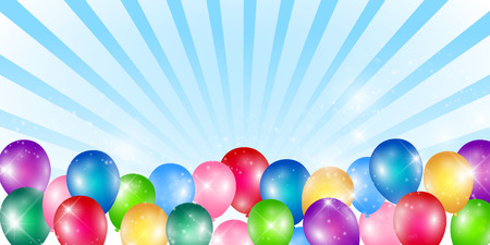 Colorful balloons with blue ray background