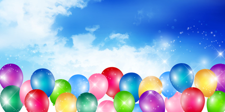 Colorful balloon on blue sky background