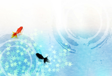 Goldfish Maple Summer greeting card background