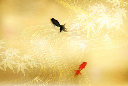 Goldfish Maple Summer greeting card background