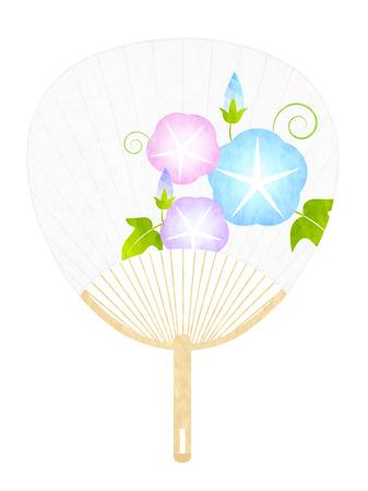 Morning glory fan summer icon illustration.  イラスト・ベクター素材