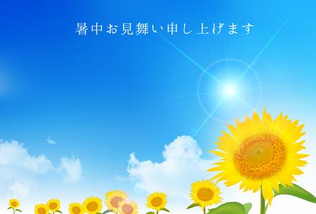 Sunflower summer Summer greeting card background  イラスト・ベクター素材
