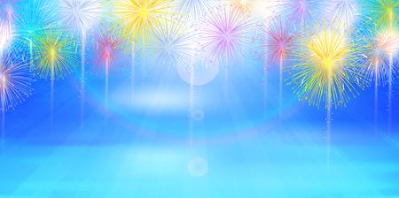 Fireworks summer sea background Vektoros illusztráció