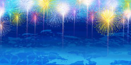 Fireworks summer sea background Illustration