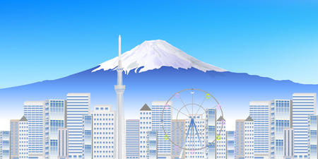 Fuji Tokyo scenery background Illustration