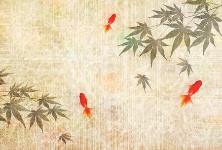 Goldfish Maple en el caluroso fondo de verano Ilustración de vector