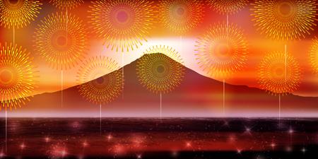 Fuji fireworks summer background