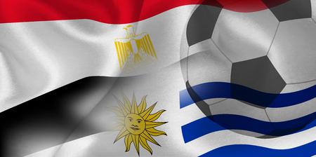 Egypt Uruguay national flag soccer ball Ilustração
