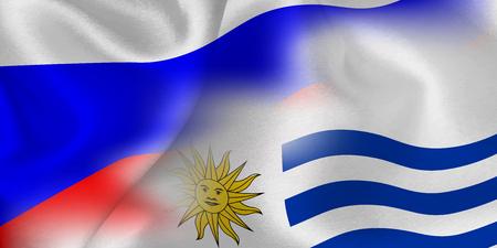Russia Uruguay national flag soccer ball