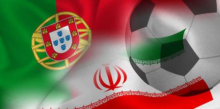 Portugal Iran national flag soccer ball