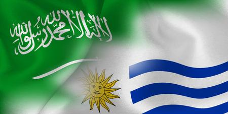Saudi Arabia Uruguay national flag soccer ball