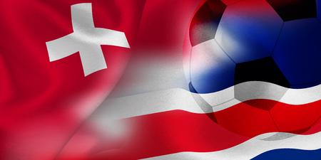 Switzerland Costa Rica national flag soccer ball 向量圖像