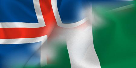 Iceland Nigeria national flag soccer ball