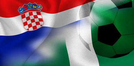 Croatia Nigeria national flag soccer ball Ilustração