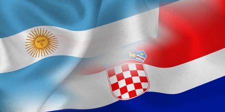 Argentina Croatia national flag soccer ball Ilustração