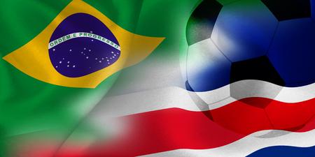 Brazil Costa Rica national flag soccer ball