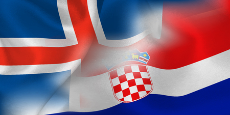 Iceland Croatia national flag soccer ball Çizim