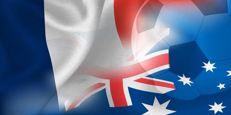 France Australia national flag soccer ball Foto de archivo - 102459920