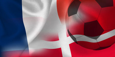 France Denmark national flag soccer ball Foto de archivo - 102459923