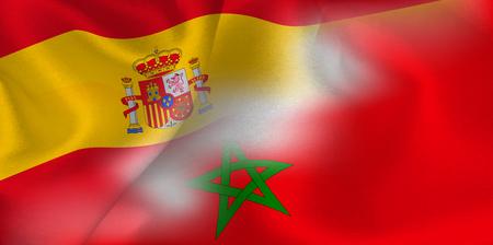 Spain Morocco national flag soccer ball Çizim