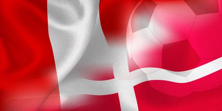 Peru Denmark national flag soccer ball