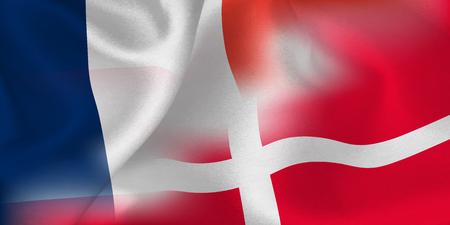 France Denmark national flag soccer ball Foto de archivo - 102464379