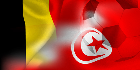 Belgium Tunisia national flag soccer ball Banque d'images - 102459976