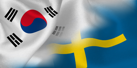 South Korea Sweden national flag soccer ball Stock Illustratie