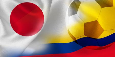 Japan Columbia national flag soccer ball
