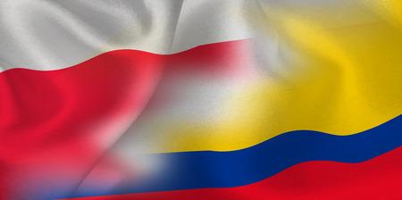 Poland Colombia national flag soccer ball Foto de archivo - 102545463