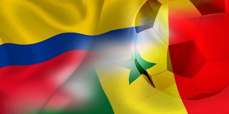 Colombia Senegal national flag soccer ball Foto de archivo - 102545465