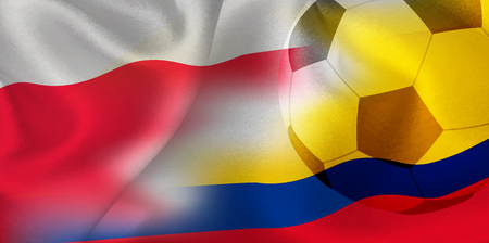 Poland Colombia national flag soccer ball Foto de archivo - 102545469
