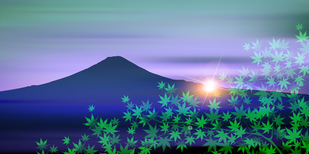 Mt. Fuji Maple Landscape Background 向量圖像
