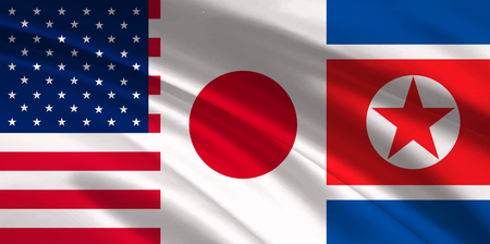 America Japan North Korea flag background