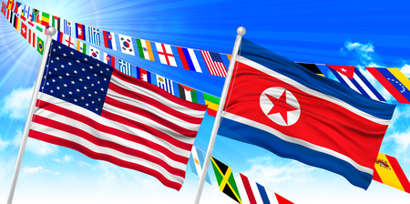 North Korea North American flag background