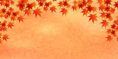 Autumn leaves fall Japanese paper background