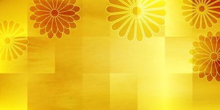 Autumn leaves chrysanthemum paper background Illustration