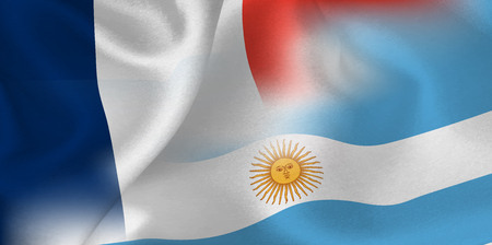 France Argentina national flag soccer ball Foto de archivo - 103578881