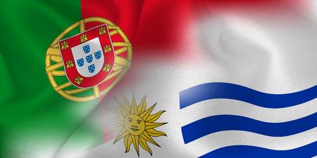 Portugal Uruguay national flag soccer ball