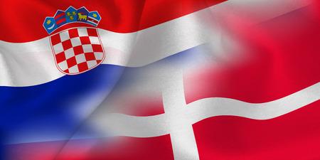 Croatia Denmark national flag soccer ball